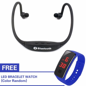 Kingdo E4 Sports Bluetooth Earphone Music Player MP3 Support TFCard(Black) with Free LED Watch