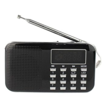 L-218AM Rechargeable Portable Mini Speaker LED Digital Auto ScannerAM FM Radio with USB port TF micro SD card slot - intl