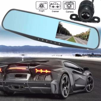 L501 HD 1080p Monitor Dual Lens Video Dash Cam Recorder Car CameraDVR Rearview Front Car black