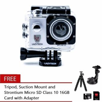 Lazytech 4K 30FPS 1080p 30/60FPS WiFi Action Pro 16MP Sports Camera(White) with Free Tripod, Suction Mount and Strontium Micro SDClass 10 16GB Card with Adapter (Black)