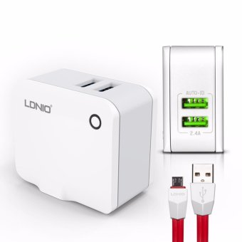 LDNIO A2203 2 USB 5V / 2.4A Quick Charge Universal USB Charger For Android (White)