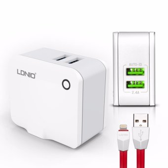 LDNIO A2203 2 USB 5V / 2.4A Quick Charge Universal USB Charger For iPhone 5/6/7 (White)