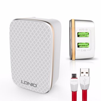 LDNIO A2204 2 USB 5V / 2.4A Quick Charge Desktop USB Charger for Android Smart Phone (White)