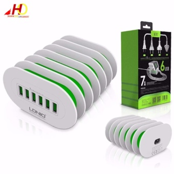 LDNIO A6702 6 USB 5V / 7.0A Quick Charge Desktop Charger (White/Green)