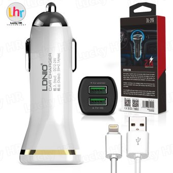LDNIO DL-219 Dual 2.1A USB Car Fast Charging Charger With Cable for iPhone7/6s (White)