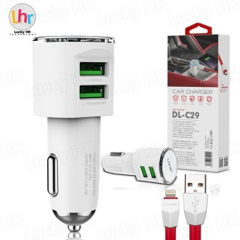 LDNIO DL-C29 2 USB Port Car Charger with Cable for iPhone 7/6s