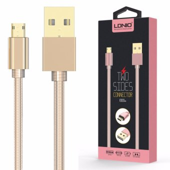 LDNIO LS24 1M Fast Charging Metal Coated Lighting USB Cable for Android (Gold)