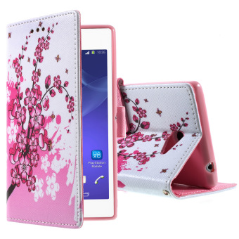 Leather Cover with Stand for Sony Xperia M2 D2306 / M2 Dual D2302(Pink)