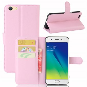 Leather Flip Cover Protective Case For OPPO A39 / A57 (Pink) - intl