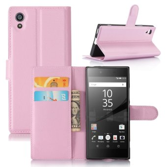 Leather Flip Cover Protective Case For Sony Xperia XA1 (Pink) -intl