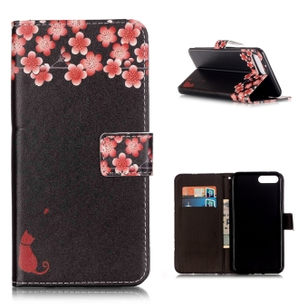 Leather Flip Stand Case Cover For Apple iPhone 7 Plus (Peach Blossom) - intl