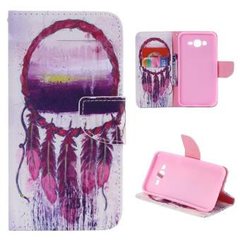 Leather Magnetic Closure Flip Stand Cover For Samsung Galaxy J7(2015) (Dream Catcher) - intl