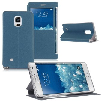 Leather View Window Case for Samsung Galaxy Note 4 / Note Edge N915(Blue)