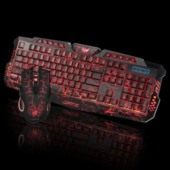 LED Gaming Wired 2.4G keyboard and Mouse Set to Computer Multimedia Gamer - intl