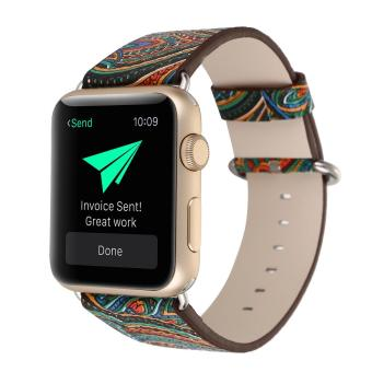 leegoal Vintage Folk National Style Colorful Painting Watch BandStrap For Apple Watch Leather Bracelet With Connector 42mm - intl