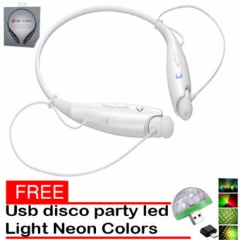 LG HBS-730 Bluetooth Wireless Stereo Headset (White) With Free LEDSmall Magic Ball Disco Party USB Colorful Neon Lights 4W