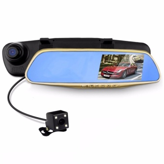 LHR C102 4.3 inch HD Car Rear View Mirror Dash Camera Recorder (Gold)