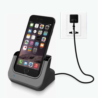 Lightning 8 Pin Dock Station Charger Cradle Holder for iPhone 7 / 6s / 6 with Micro USB Cable - Black - intl