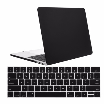 Lightning Power- 2 in 1 Matte Frost Smooth Rubberized Plastic Hard Shell Case Cover with keyboard cover for New Apple Macbook Pro 13-inch 2016 Release 2016 A1706, A1708 w/ Retina Display with/without Touch Bar and Touch ID (Black) - intl