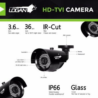 Logan L-DX441M-ND Night Vision CCTV 720P Weatherproof 4Pcs Metal Bullet Camera & 1080N 4CH HD DVR (No HDD Included) - 3