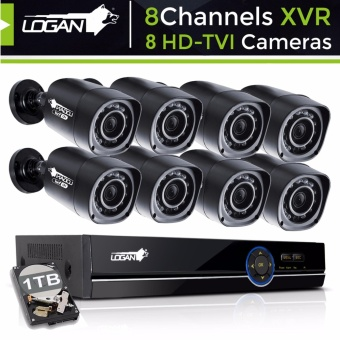 Logan Night Vision CCTV 720p Weatherproof Proof 8pcs Plastic Bullet Camera & 8CH 1080N HD-XVR with 1 TB HDD Included (Black)