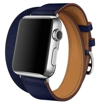 Long Genuine Leather Band Double Tour Bracelet Watchband For AppleWatch 38MM - intl