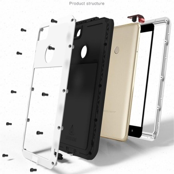 LOVE MEI Metal Waterproof Case For Xiaomi Max2 Shockproof Back Cover Shell Phone Case Aluminum Protection Gorilla glass 6.44 inch - intl - 3