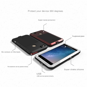 LOVE MEI Metal Waterproof Case For Xiaomi Max2 Shockproof Back Cover Shell Phone Case Aluminum Protection Gorilla glass 6.44 inch - intl - 2