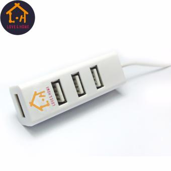 LOVE&HOME Portable High Speed 4 Ports 2.0 USB Hub LongExtension Cable (White) Free 1 Of 16GB Double Plug Cellphone / PCUSB Flash Drive Dual Purpose Memory Stick (Any Color) - 2