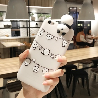 Lovely Cute Catoon Animal Panda Case 3D Lay Chubby Panda Doll Toy Candy TPU Back Cover for OPPO A57 / A39 with Lanyard - intl