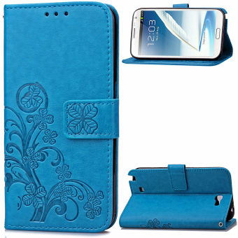Lucky Clover PU Leather Flip Magnet Wallet Stand Card Slots CaseCover for Samsung Galaxy Note II 2 N7100 Blue