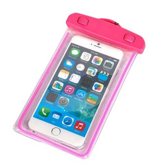 Luminous Glow in Dark Waterproof Underwater Smart Phone Pouch Bag(Pink)