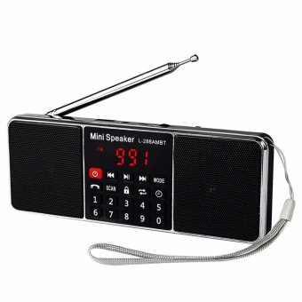 LUOMO LED Screen Display L-288 Portable AM FM Stereo Radio with Wireless Speaker MP3 Player (Black) - intl