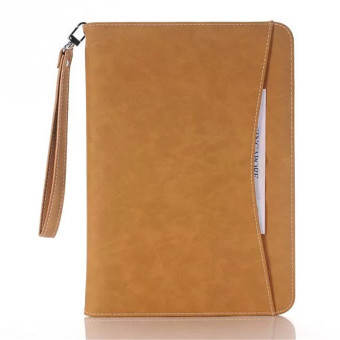 Luxury Hand Strap Case For Apple iPad Mini 1/2/3 Soft Leather SlimCover Case(Khaki)