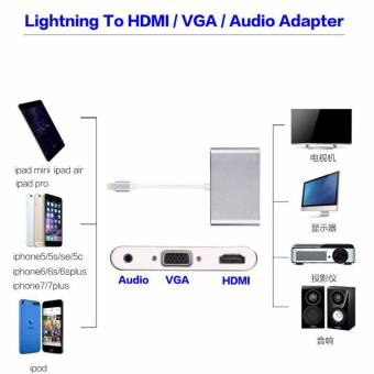 LYBALL 3 in 1 Lightning 8Pin to HDMI/VGA/Audio TV Digital Airplay Adapter Converter for iPhone 6 7 /iPad Silver - intl - 4