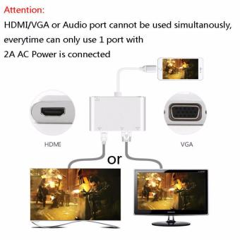 LYBALL 3 in 1 Lightning 8Pin to HDMI/VGA/Audio TV Digital Airplay Adapter Converter for iPhone 6 7 /iPad Silver - intl - 3