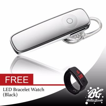 M165 Bluetooth Mono Headset (White) FREE (LED Watch Black)