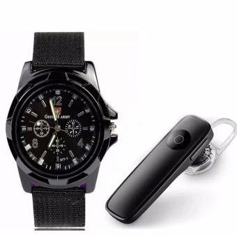 M165 Bluetooth V4.0 Stereo Smartphone Headset for iphone Android(Black) with GEMIUS ARMY Military Sport Style Army Men's BlackCanvas Strap Watch Price Philippines