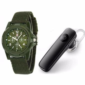 M165 Bluetooth V4.0 Stereo Smartphone Headset for iphone Android(Black) with GEMIUS ARMY Military Sport Style Army Men's GreenCanvas Strap Watch Price Philippines