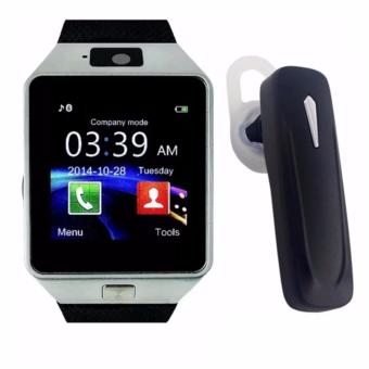 M19 Intelligent Phone Quad Smart Watch with Sim Card Slot(Black/Silver) With Multimedia S163 Bluetooth Stereo SmartphoneHeadset (Black)