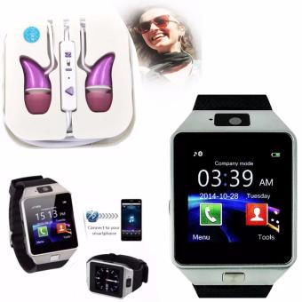 M9 Intelligent Phone Quad Smart Watch with Sim Card Slot(Black/Silver) with ADAMAS High Quality Unique In-Ear Phone Headset(Pink)