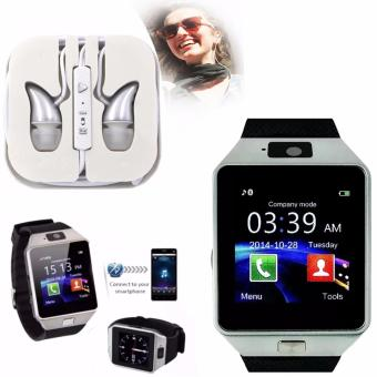 M9 Intelligent Phone Quad Smart Watch with Sim Card Slot(Black/Silver) with ADAMAS High Quality Unique In-Ear Phone Headset(Silver)