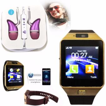 M9 Intelligent Phone Quad Smart Watch with Sim Card Slot(Gold/Brown) with ADAMAS High Quality Unique In-Ear Phone Headset(Pink)