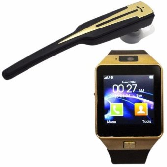 M9 Intelligent Phone Quad Smart Watch with Sim Card Slot(Gold/Brown) With VLG-001 Wireless Bluetooth Hands Free StereoHeadset (Black)