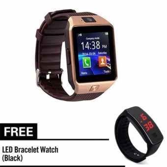 M9 Phone Quad Smart Watch (Gold) With Free Led Bracelet Watch(Black)