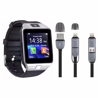 M9 Phone Quad Smart Watch (Silver) with 2 in 1 USB Cord Color MayVary