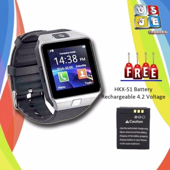 M9 Phone Quad Smart Watch (Silver) with FREE Battery