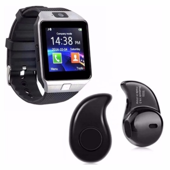 M9 Phone Quad Smart Watch (Silver) With Mini Bluetooth EarphoneV4.1 (Black)