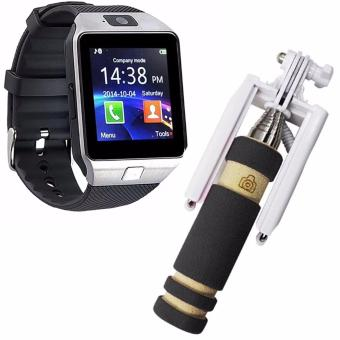 M9 Phone Quad Smart Watch (Silver)With Mini Monopod (Color MayVary)
