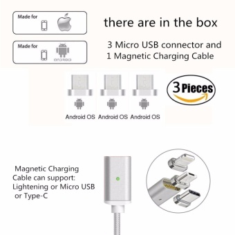 Magnetic clip-on USB Fast Charging and High Speed data TransmissionSync Braided Wire 3-in-1 Magnetic LightingMicro USBType-C MiniMetal connector for iOS or Android(1 Magnetic Charging data Cableand 3 Micro USB connector) - intl - 2